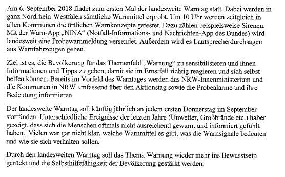 Probealarm NRW