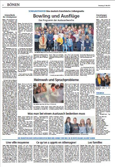 SCHULAUSTAUSCH Eine deutsch-französische Zeitungsseite