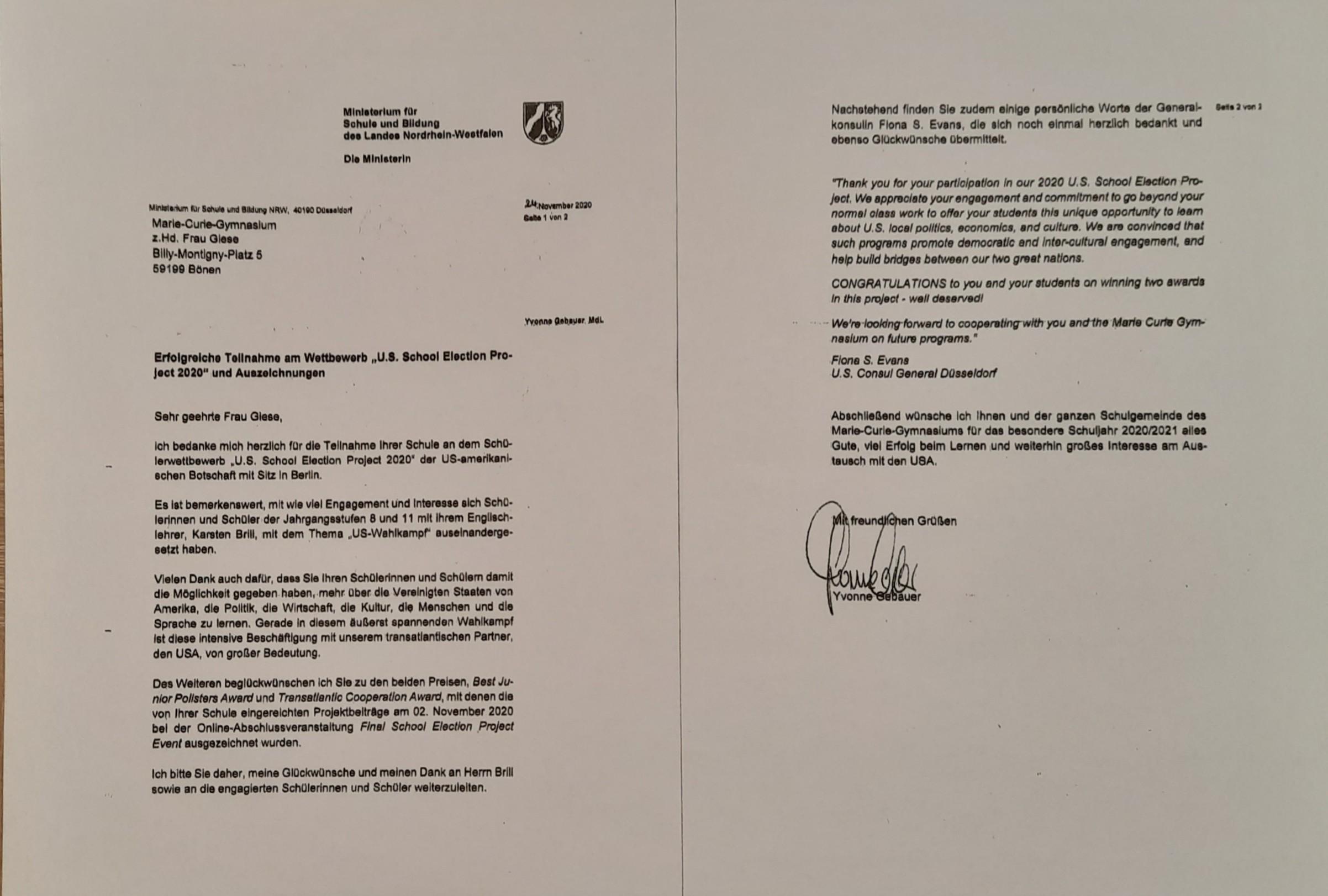 Glückwünsche per Post: Das Schulministerium NRW gratuliert zum U.S. School Election Project 2020